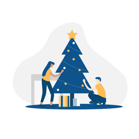 Family decorating christmas tree Illustration