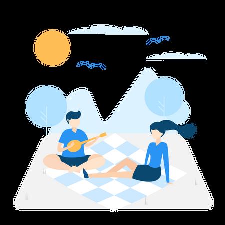 Family enjoying picnic Illustration