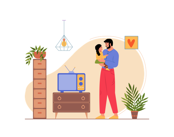 Father Playing with his daughter at home Illustration