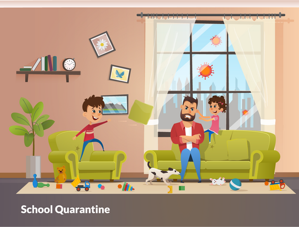 Father Sits with Children Home School Quarantine Illustration
