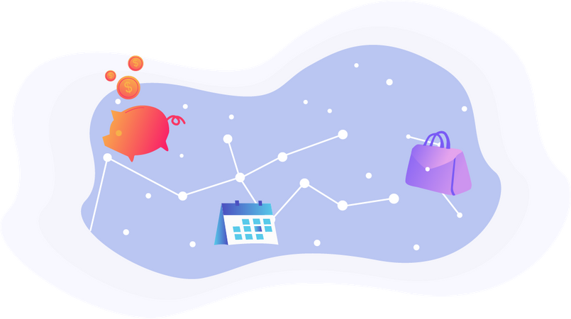 Financial savings scheduling concept with galaxy and stars pattern background Illustration