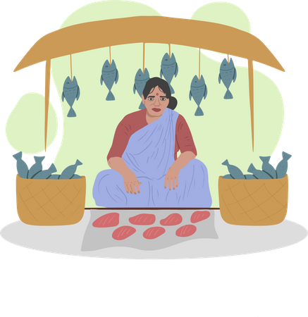 Fish Market Illustration