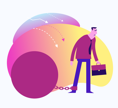 Flat Design Illustration For Presentation, Web, Landing Page: A Man Stands Shy Of Doubts And Does Not Dare To Make A Business Decision Illustration