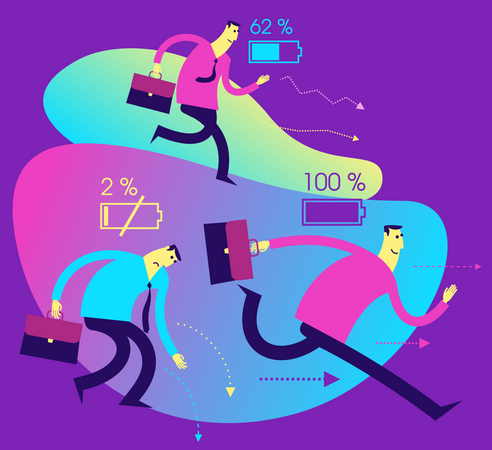 Flat Design Illustration For Presentation, Web, Landing Page: A Man Tired With A Dead Battery And Energetic With A Full Battery Illustration