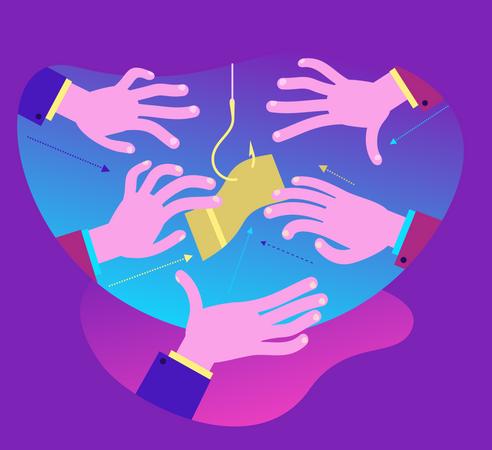 Flat Design Illustration For Presentation, Web, Landing Page: Hands Reach For Bait - Money On A Hook Illustration
