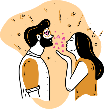 Flying Kiss Illustration