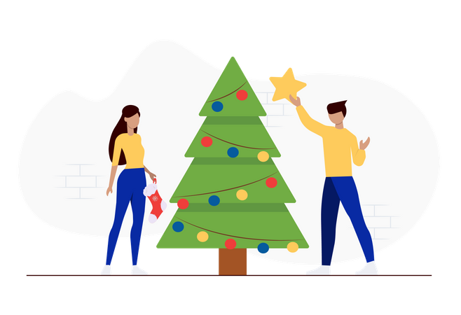 Friends decorating christmas tree Illustration