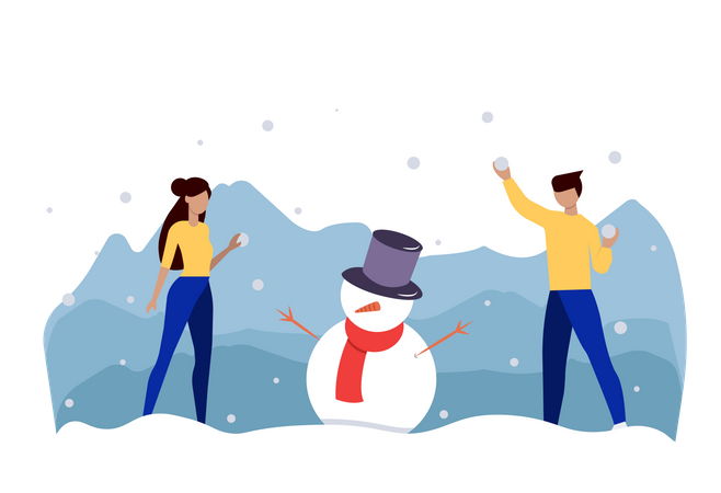 Friends playing with snow during christmas Illustration