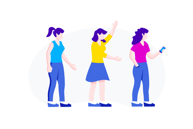 Girl Character Set with Standing Position Illustration