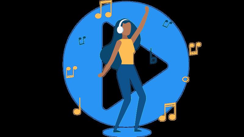 Girl enjoying music Illustration