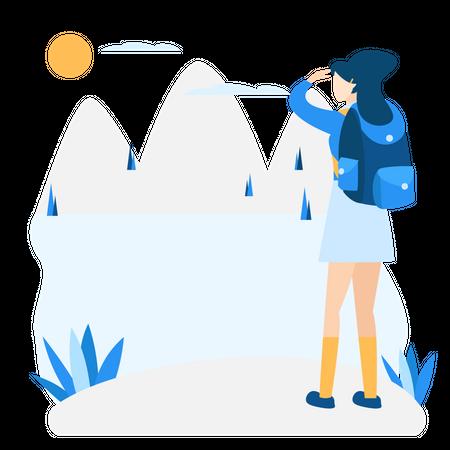 Girl finding way during trekking Illustration
