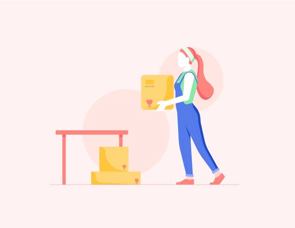 Girl Moving Boxes Illustration
