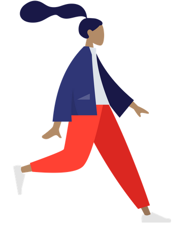 Girl running in park Illustration