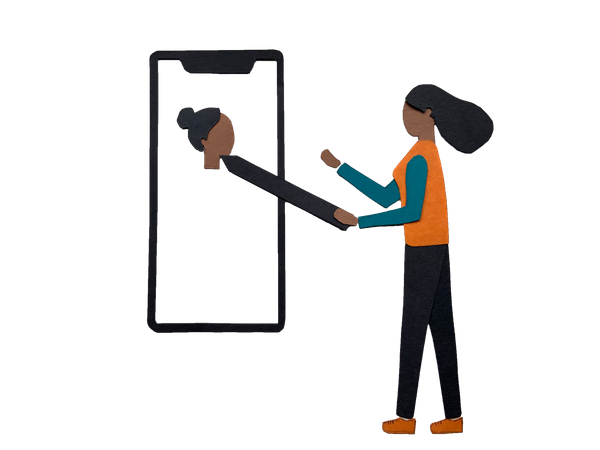 Girl using design editor in mobile Illustration