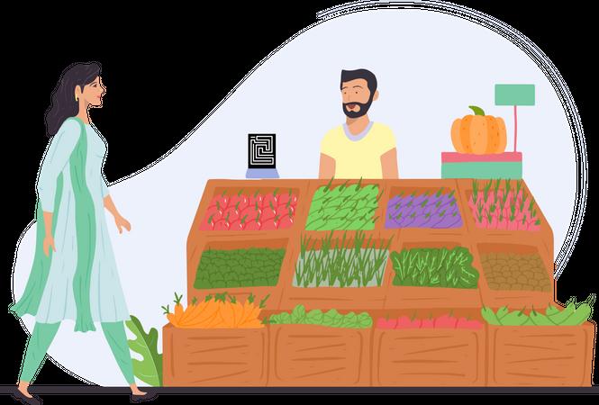 Girl visiting indian vegetable vendor for buying vegetables Illustration