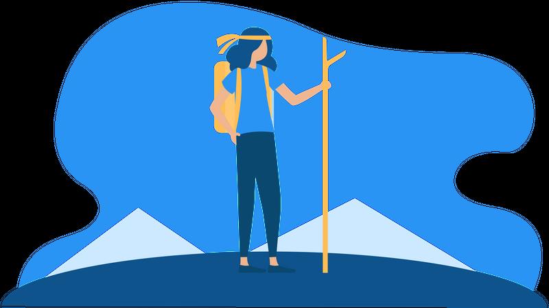 Girl with backpack going for trekking Illustration