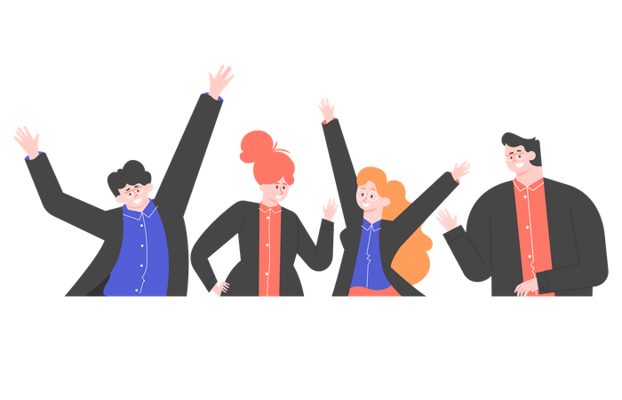 Group of happy business people Illustration