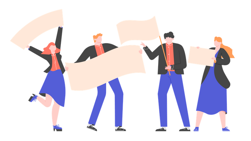 Group of people protesting Illustration