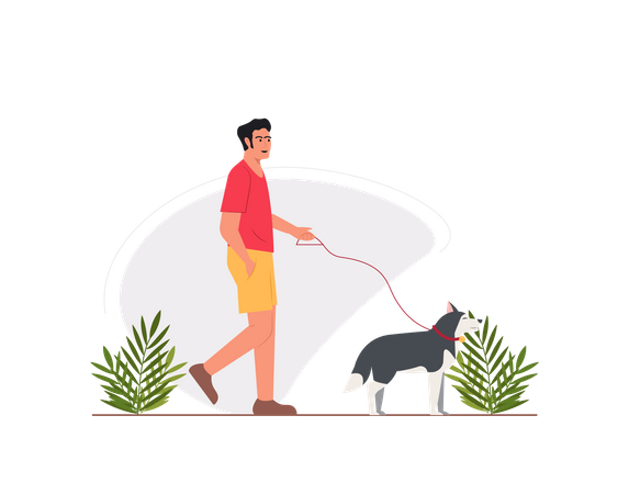Guy walking with dog in the park Illustration