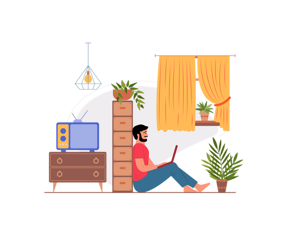 Guy working at home Illustration