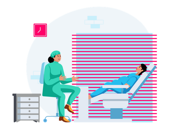 Gynaecologist consulting pregnant lady Illustration