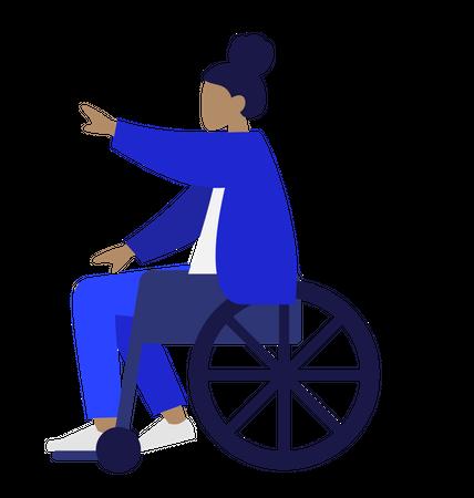 Handicapped woman sitting on wheelchair Illustration
