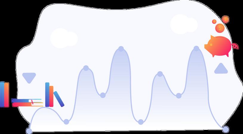 Income graph for savings Illustration