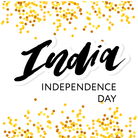India Independence Day 15 august Lettering Calligraphy Illustration