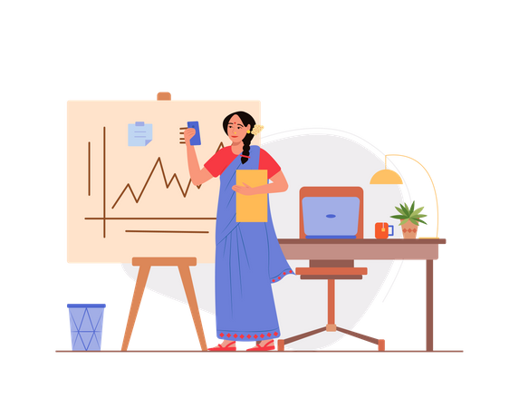 Indian business woman working in the office Illustration