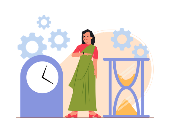Indian businesswoman doing time management Illustration