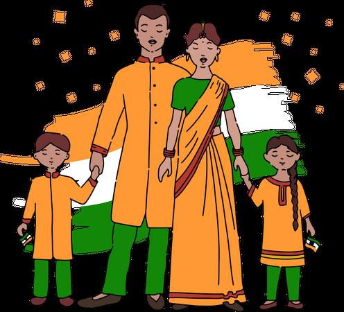 Indian family celebrating republic day Illustration