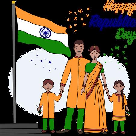 Indian family celebrating republic day with Indian flag hoisting Illustration