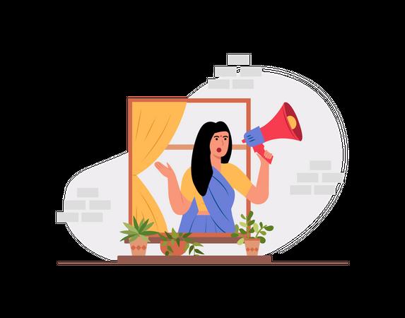 Indian female making announcement using megaphone Illustration
