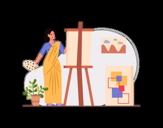Indian Female painter painting Illustration