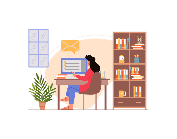 Indian female reading emails in her computer Illustration