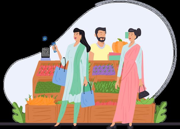 Indian girl paying vegetable bill through phone Illustration