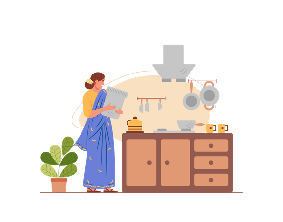 Indian housewife working in the kitchen Illustration