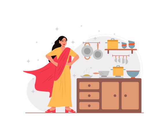 Indian housewife working like super woman Illustration