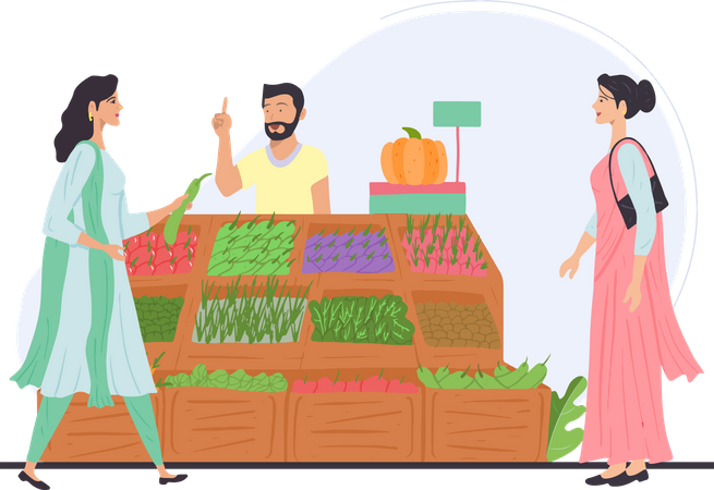 Indian lady buying vegetables from vendor Illustration