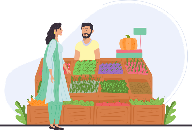 Indian lady checking out vegetables Illustration
