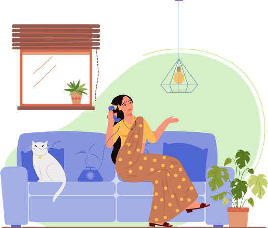 Indian lady talking on a call Illustration