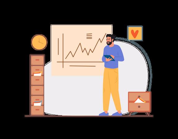 Indian man analysis company growth Illustration