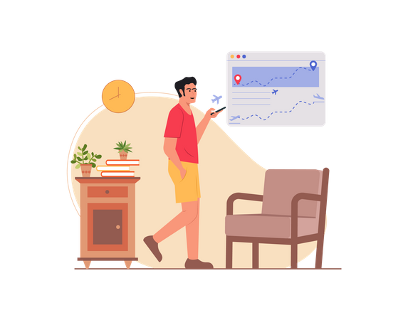 Indian man booking flight ticket online Illustration