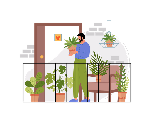 Indian man holding plant at the balcony of his house Illustration