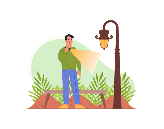 Indian man searching something with torch Illustration