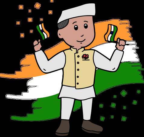 Indian political leader holding tiranga Illustration