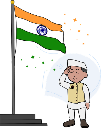 Indian political leader salute to tiranga Illustration