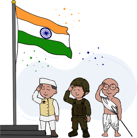 Indian political leader, soldier and freedom fighter celebrating republic day with Indian flag hoisting Illustration