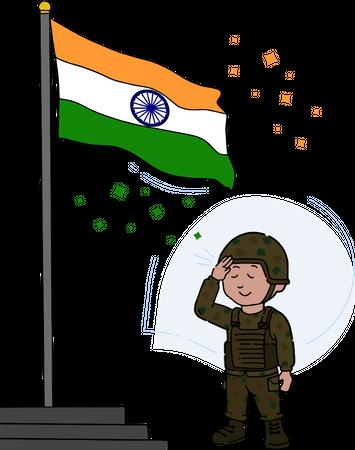 Indian soldier salute to tiranga Illustration