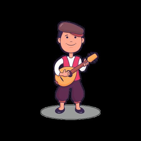 Italy Man Playing Guitar Illustration